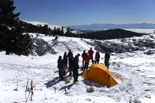 Χειμερινή κατασκήνωση αρχάριων ορειβατών