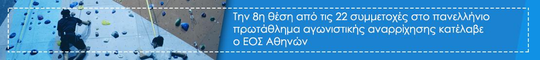 Την 8η θέση από τις 22 συμμετοχές στο πανελλήνιο πρωτάθλημα αγωνιστικής αναρρίχησης κατέλαβε ο ΕΟΣ Αθηνών